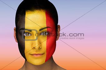 Beautiful brunette in belgium facepaint
