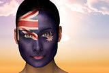 Beautiful brunette in australia facepaint