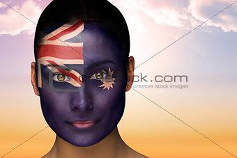 Beautiful brunette in australia facepaint