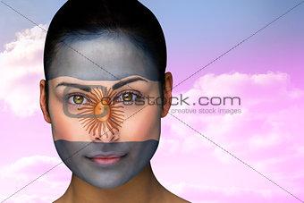 Beautiful brunette in argentina facepaint