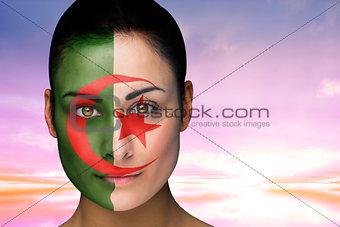 Beautiful brunette in algeria facepaint