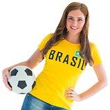 Pretty football fan in brasil t-shirt