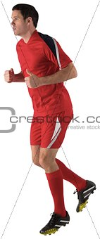 Football player in red running