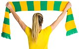 Pretty football fan in brasil t-shirt