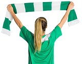 Cheering football fan waving scarf