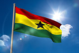 Ghana national flag on flagpole