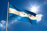 Honduras national flag on flagpole