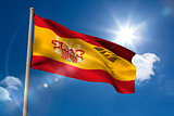 Spain national flag on flagpole