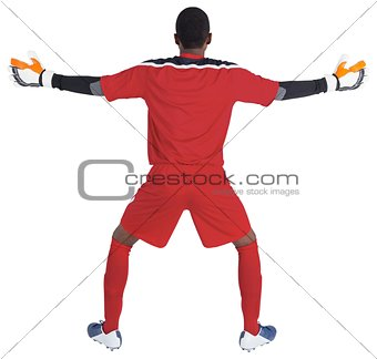 Goalkeeper in red ready to save