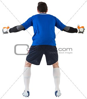 Goalkeeper in blue ready to save