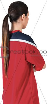 Football fan in red jersey