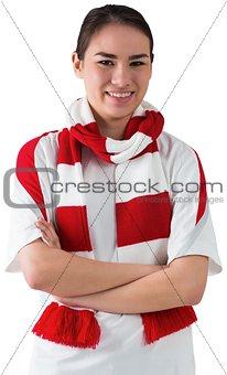 Football fan in white wearing scarf