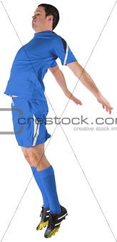 Football player in blue jumping