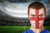 England football fan in face paint