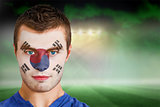 South korea football fan in face paint