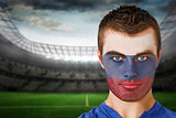 Russia football fan in face paint