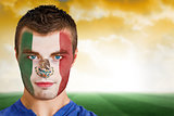 Mexico football fan in face paint