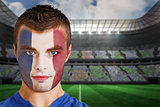 France football fan in face paint
