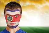 Costa rica football fan in face paint