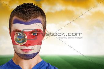 Costa rica football fan in face paint