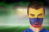 Colombia football fan in face paint