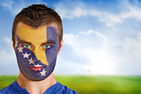 Bosnia football fan in face paint