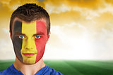 Belgium football fan in face paint