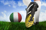 Football boot kicking italy coast ball
