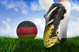 Football boot kicking belgium ball
