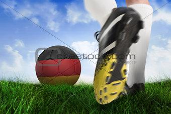Football boot kicking belgium ball