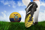 Football boot kicking ecuador ball