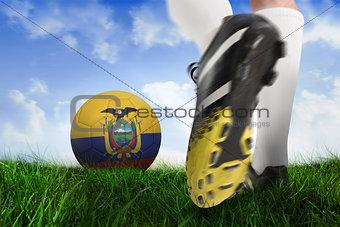 Football boot kicking ecuador ball