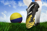 Football boot kicking colombia ball