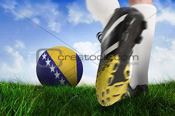 Football boot kicking bosnia ball