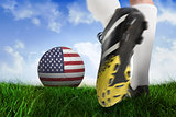 Football boot kicking usa ball