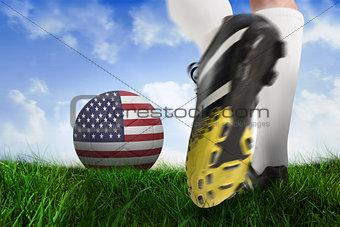 Football boot kicking usa ball