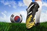 Football boot kicking korea republic ball