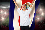 Football fan in white cheering holding costa rica flag