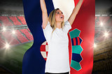 Pretty football fan in white cheering holding croatia flag