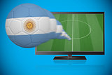Football in argentina colours flying out of tv