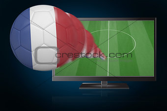 Football in france colours flying out of tv