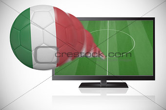Football in italy colours flying out of tv