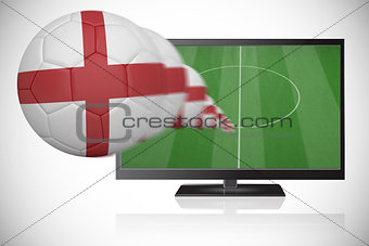 Football in england colours flying out of tv