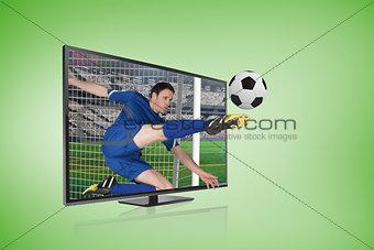 Football player in blue kicking ball through tv screen