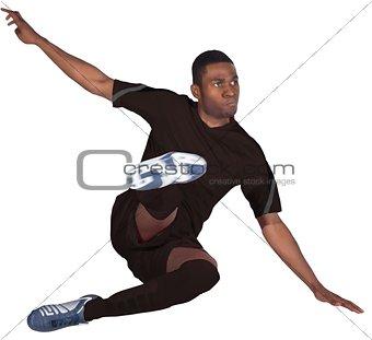 Football player in black kicking