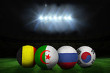 Footballs in group h colours for world cup