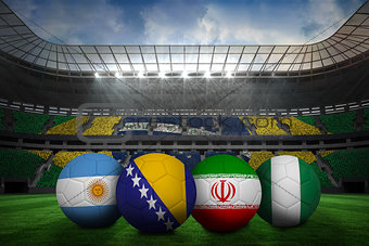 Footballs in group f colours for world cup