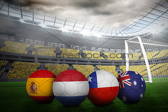 Footballs in group b colours for world cup