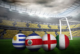 Footballs in group d colours for world cup