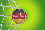 Football in germany colours at back of net